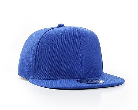 540692bb3cb New Plain Blue Flat Peak SnapBack Baseball Cap  Amazon.co.uk  Kitchen   Home