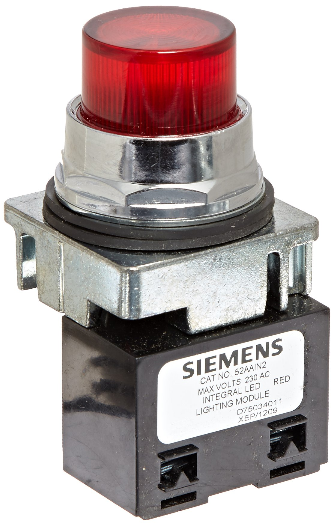 Siemens 52PL4N2 Heavy Duty Pilot Light, Water and Oil Tight, Plastic Lens, Integrated LED Module, Red, 240VAC Voltage