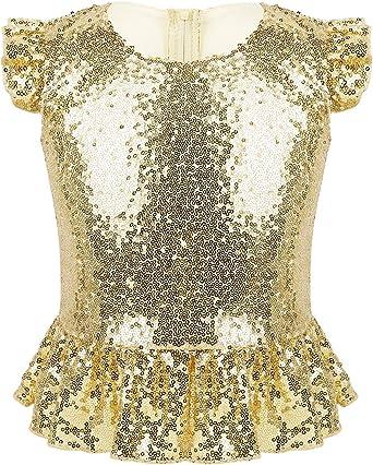 Agoky Camisa con Volantes para Niña Blusa Lentejuelas de Fiesta Top de Danza Moderna Manga con Volantes Disfraz Sirena Princesa Traje Cumpleaños: Amazon.es: Ropa y accesorios