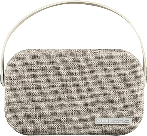 Volkano Fabric Series Bluetooth Speaker with Fabric Trim – Light Grey