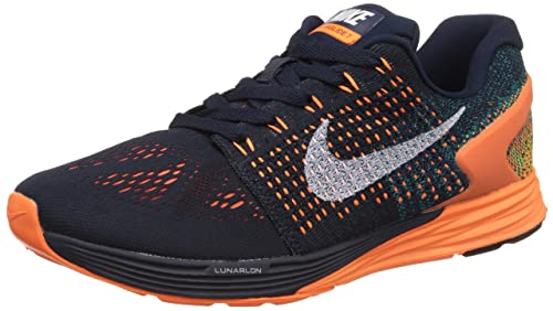 576bd32f1c30 Image Unavailable. Image not available for. Colour  Nike Men s Lunarglide 7  White-Orange Running Shoes-8.5 UK India ...