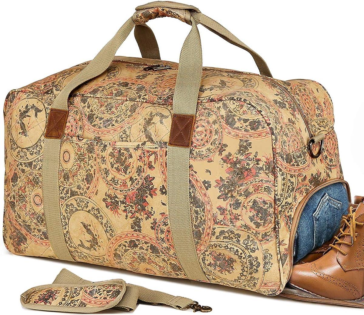 Kemy s Canvas Duffle Bag Women Overnight Weekender Bags Oversized Ladies Weekend Carryon Duffel Large