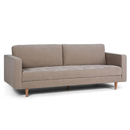 Simpli Home AXCBLN-03-WG Blaine Mid Century Modern 89 inch Wide Sofa in Light Warm Grey Chenille Look Fabric