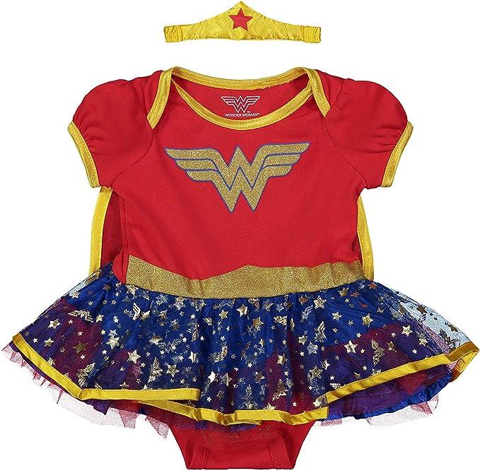 LICENSED WONDER WOMAN JUSTICE LEAGUE CHILD GIRLS TOP TIARA FANCY DRESS COSTUME