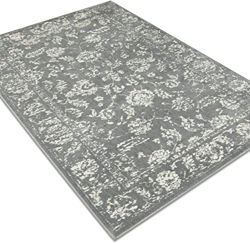 MAYSHINE Vintage Collection Cream and Gray Area Rugs, 8 x 10 Feet for Living Room Bedroom Carpet Contemporary Retro Polyester Textured Easy to Clean Stain Fade Resistant Super Soft Plush