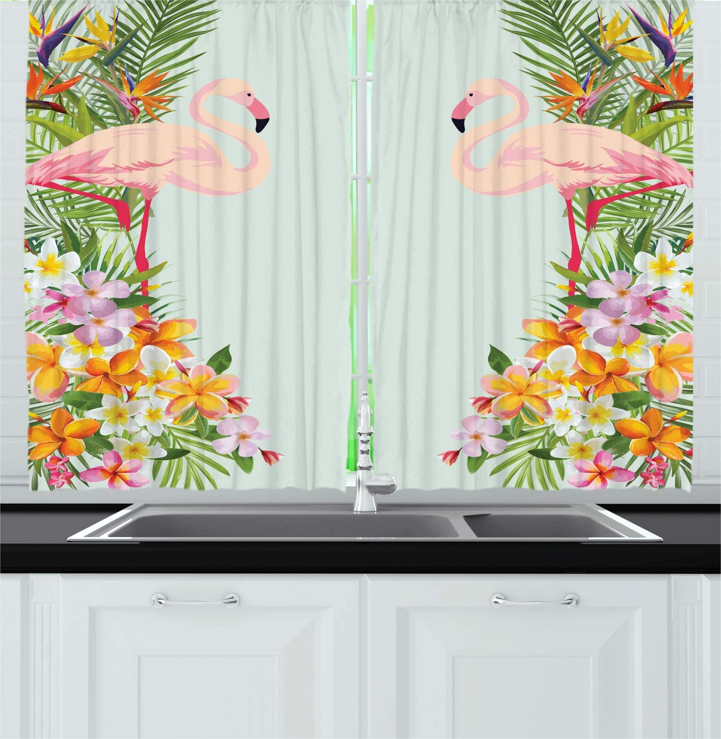 """Ambesonne Floral Kitchen Curtains, Flamingo Birds and Tropical Flowers Exotic Hawaiian Wildlife Animals Print, Window Drapes 2 Panel Set for Kitchen Cafe Decor, 55"""" X 39"""", Blue Orange"""