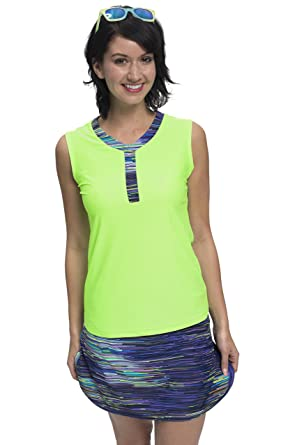 d593bfbbaad HydroChic Women s Modest Swim Shirt – Sleeveless Rash Guard Swim Top  (Spring Green Purple Rain)
