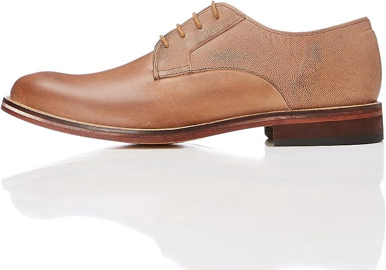 TALLA 42 EU. Marca Amazon - find. Zapato Blucher de Piel con Textura para Hombre