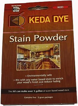 Rojo tinte por Keda Dye – Tinte para madera (25) gramos de color rojo) – hace 5 Dye manchas Quarts