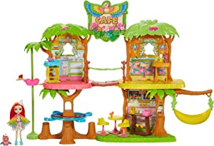 Enchantimals Junglewood Cafe Playset (-2 feet) with Peeki Parrot Doll (6-inch) and 15+ Removable Accessories [Amazon Exclusive]