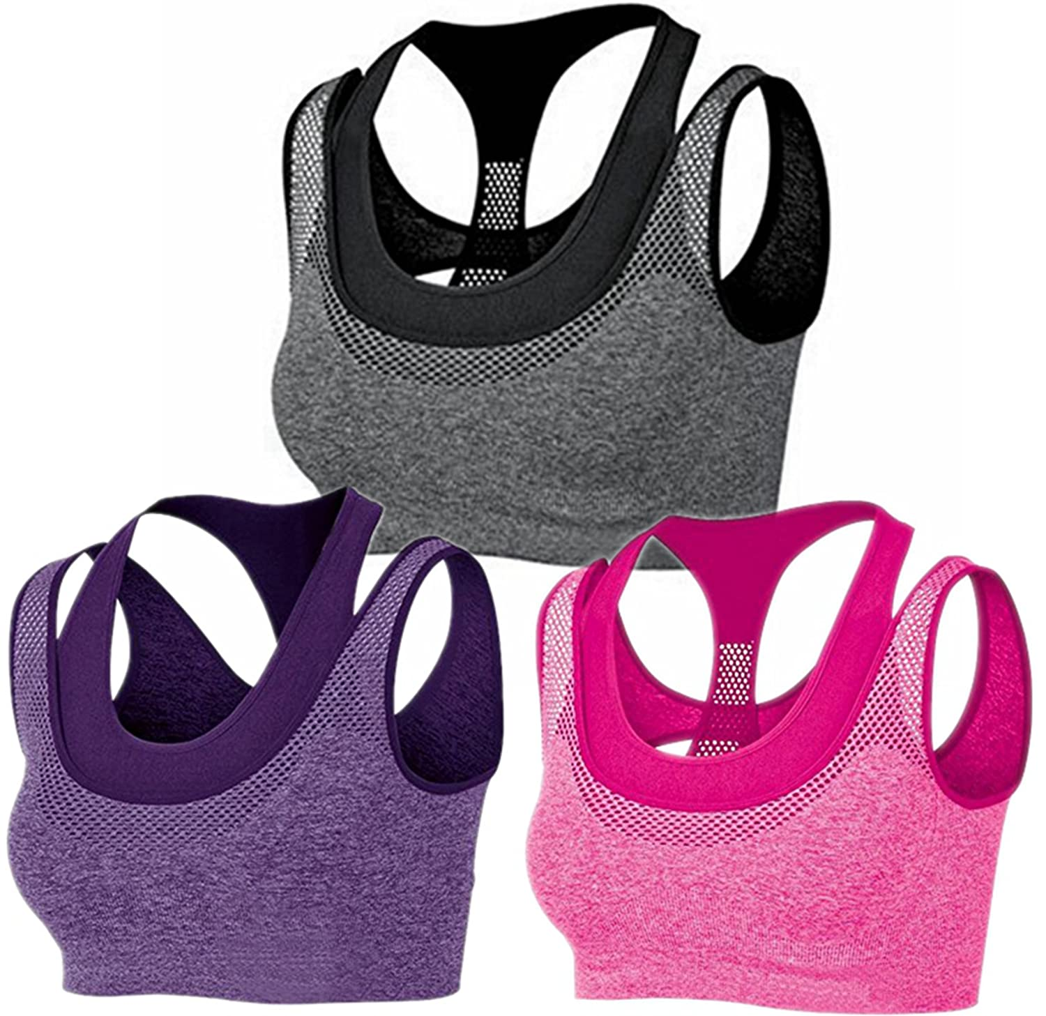 635e810562866 lovely BRABIC Women s Double Layer Sports Bras Top Padded High Impact  Sports Bra Pack of 3