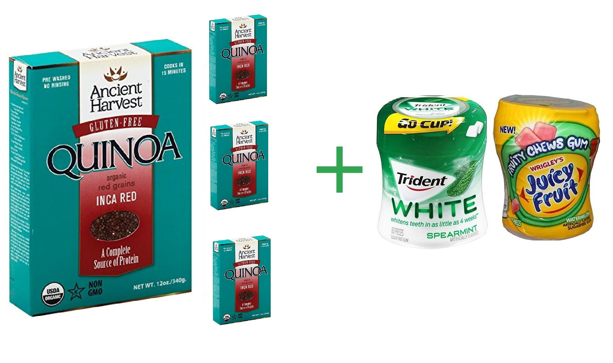 Ancient Harvest Organic Gluten Free Inca Red Quinoa 12 oz (4 Pack) + Fruity Chews Gum Watermelon 1/60 Count + Trident Go Cup Peppermint and Spearmint 1/60