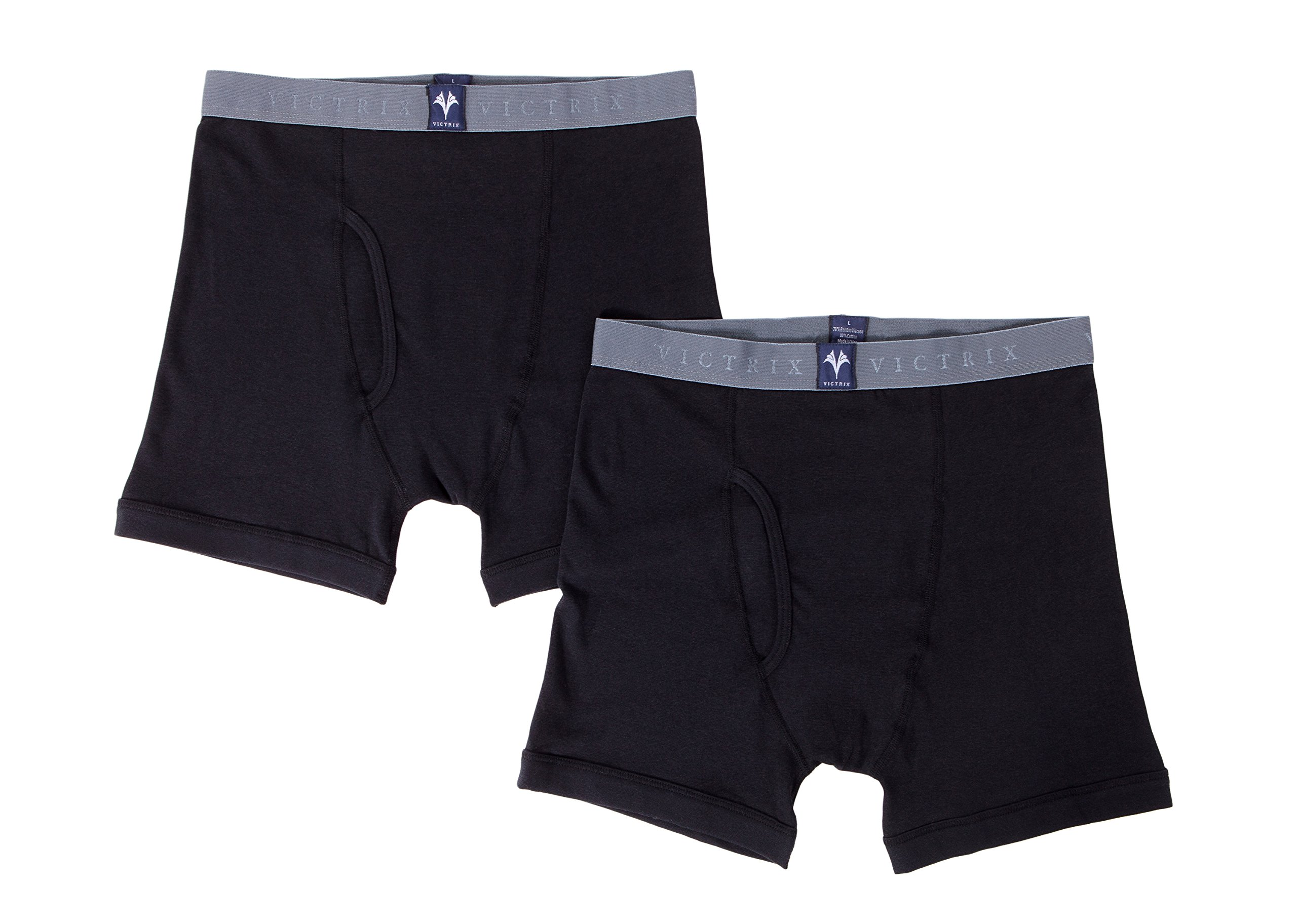 Men's Athletic Boxer Briefs in Bamboo Viscose - 2 Pack Underwear by Texere (Black, Large) Holiday Gift for Guys MB6303-BLK-L