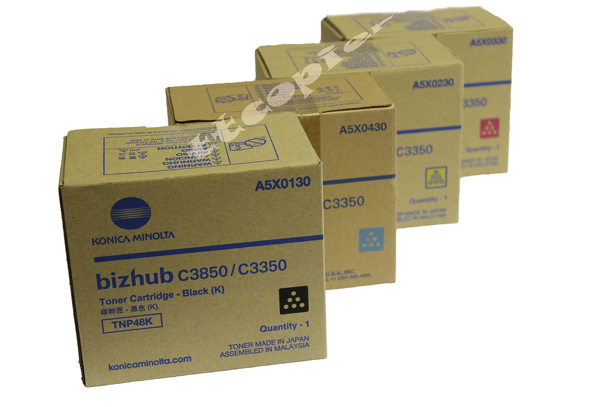 Genuine Konica Minolta TNP48 Set,Lot of 4 CMYK for C3350 C3850