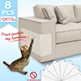 HOISTAC Cat Scratch Deterrent Tape, Double Anti-Scratch Tape, 2020 Upgrade Cat Couch Protectors,Furniture Protectors from Cats,8pcs(17.8x12ins)