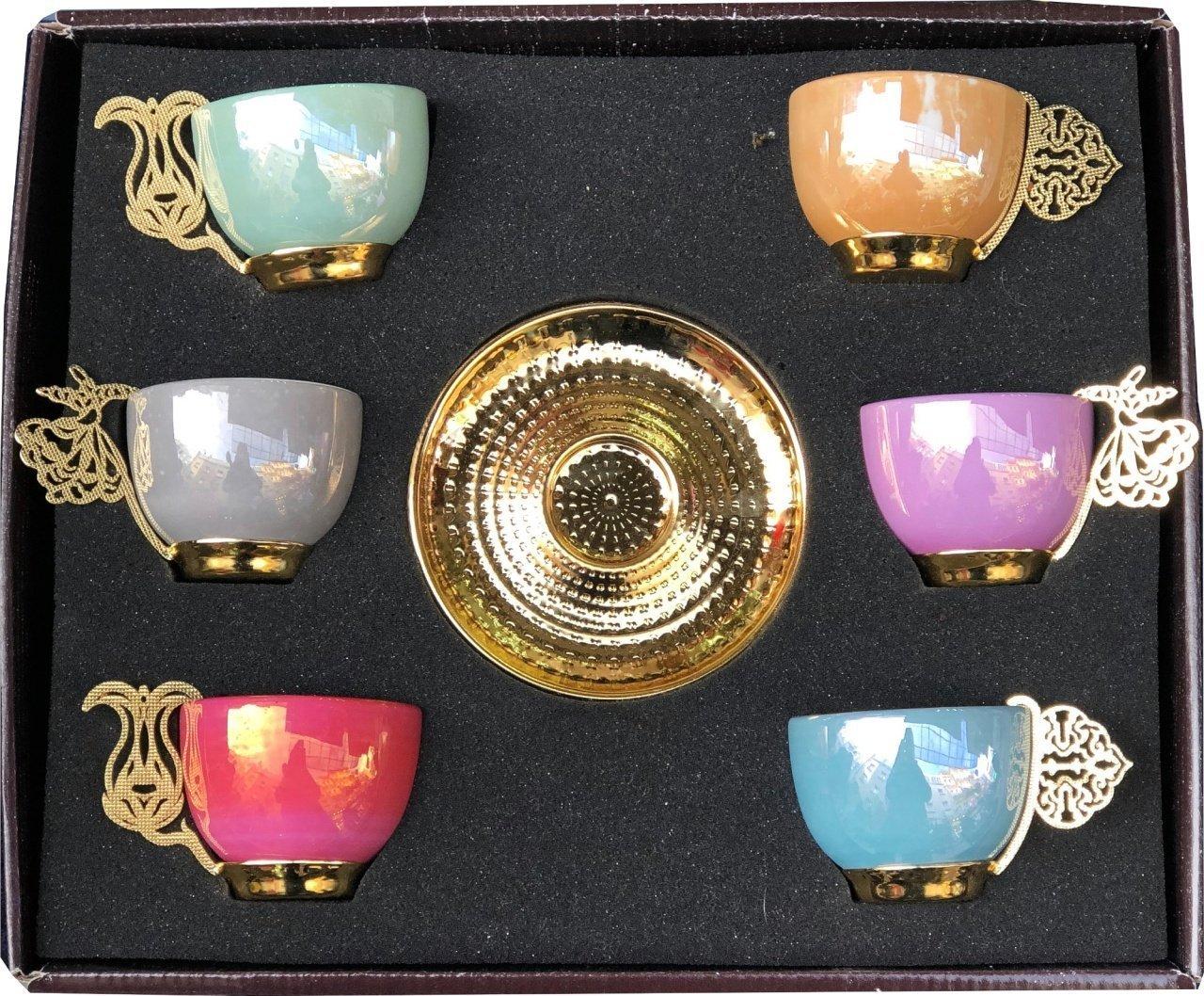 12 PC Traditional Turkish Coffee Espresso Tea Porcelain Serving Cup Saucer (Multi Color)