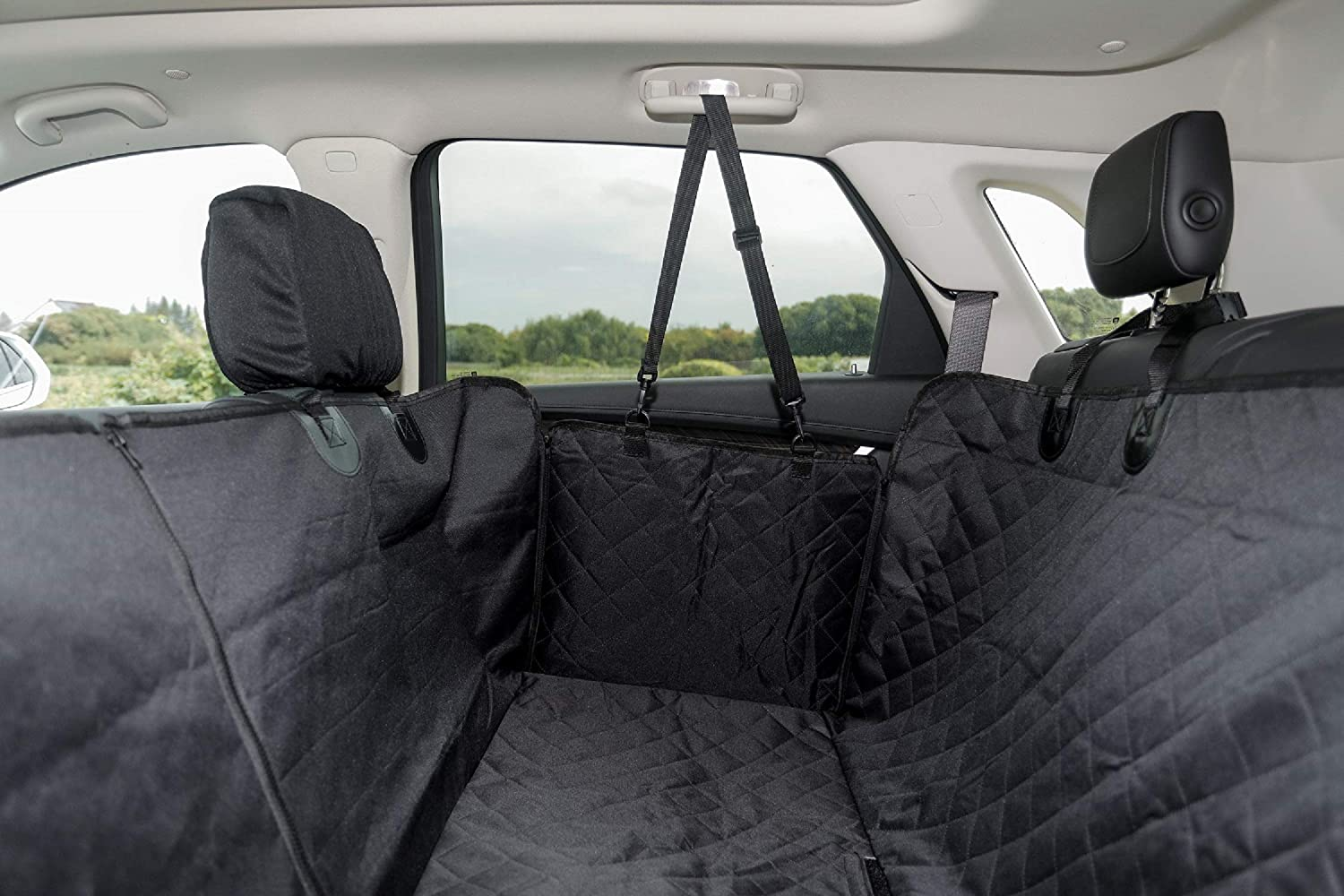 BH Dog Seat Cover for Back Seat Waterproof Oxford Cloth Hammock 600D Heavy Duty Scratch Proof Nonslip Durable Soft for Cars Trucks and SUVs