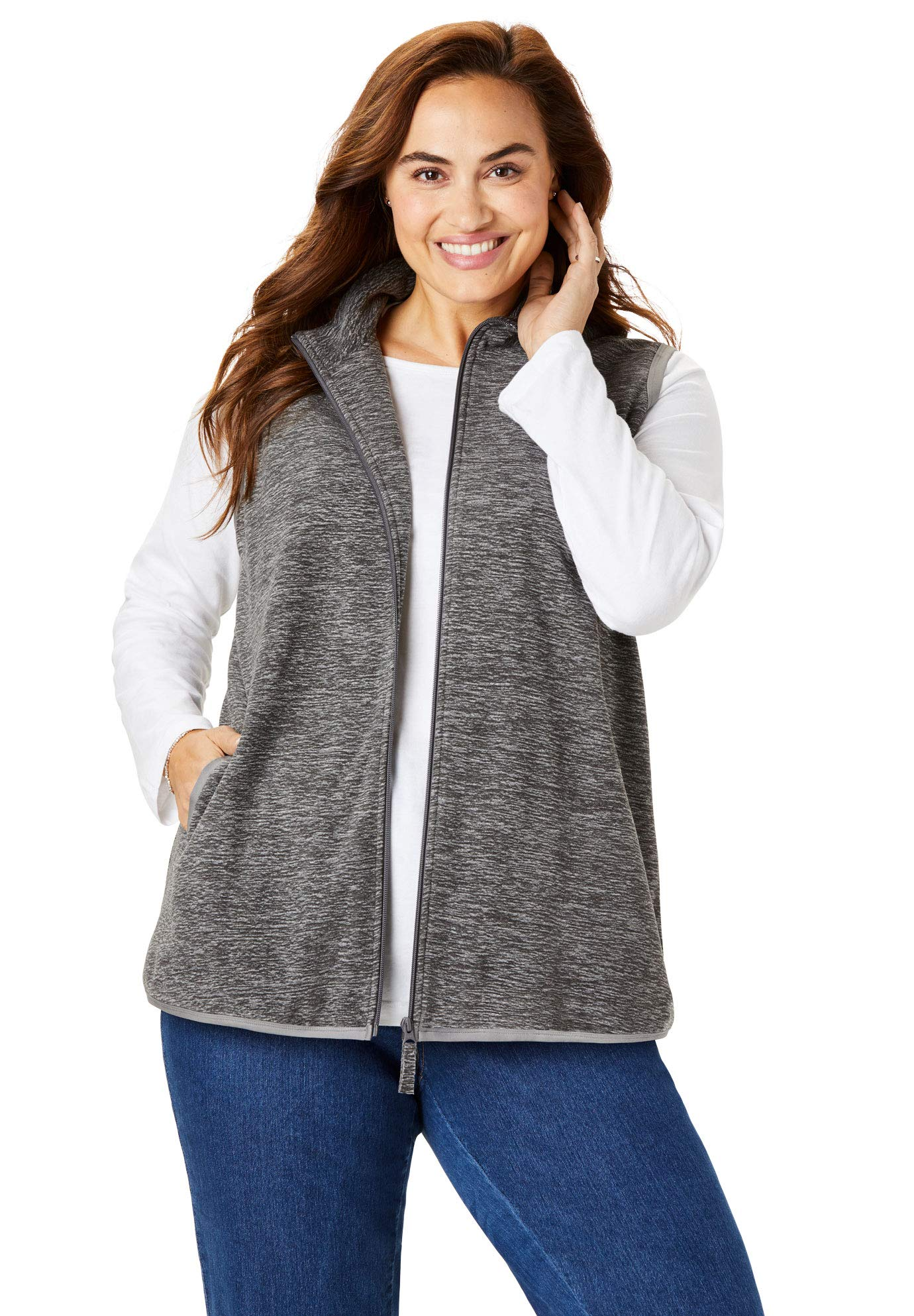 Woman Within Women's Plus Size Zip-Front Microfleece Vest - Grey Marled, 3X by Woman Within