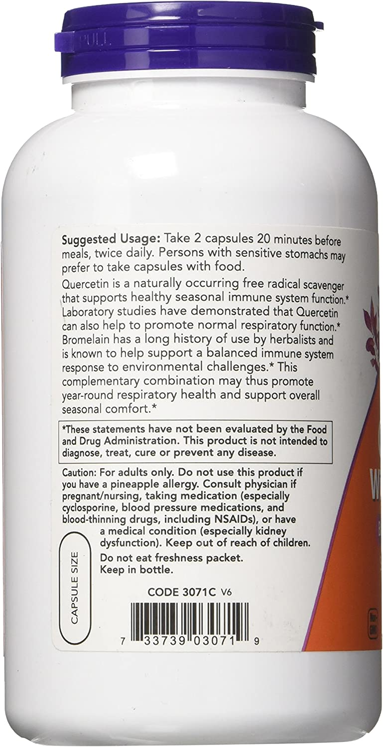 Quercetin with Bromelain Now Foods 240 VCaps: Health & Personal Care