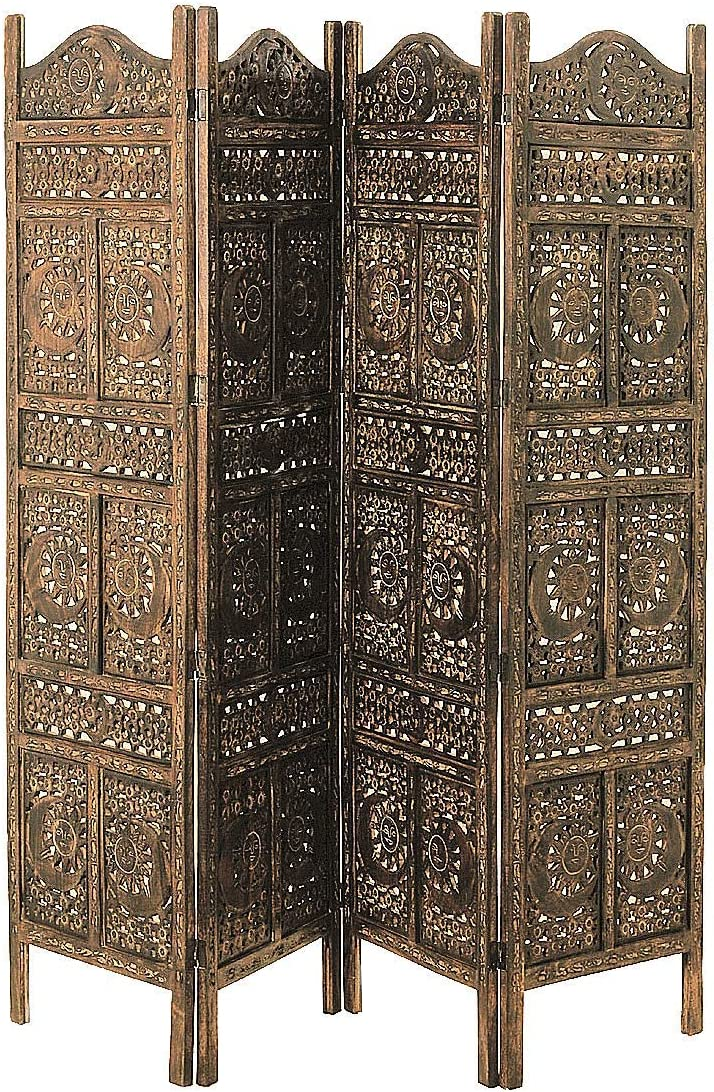 Global Chic Sun, Moon and Star 4 Panel Screen Room Divider of Hand Carved Sustainable Mango Wood, 78 3 4 Wide X 3 4 Deep X 71 Tall Inches 200 w x 2 d X 180 h cm Grand Tour Collection