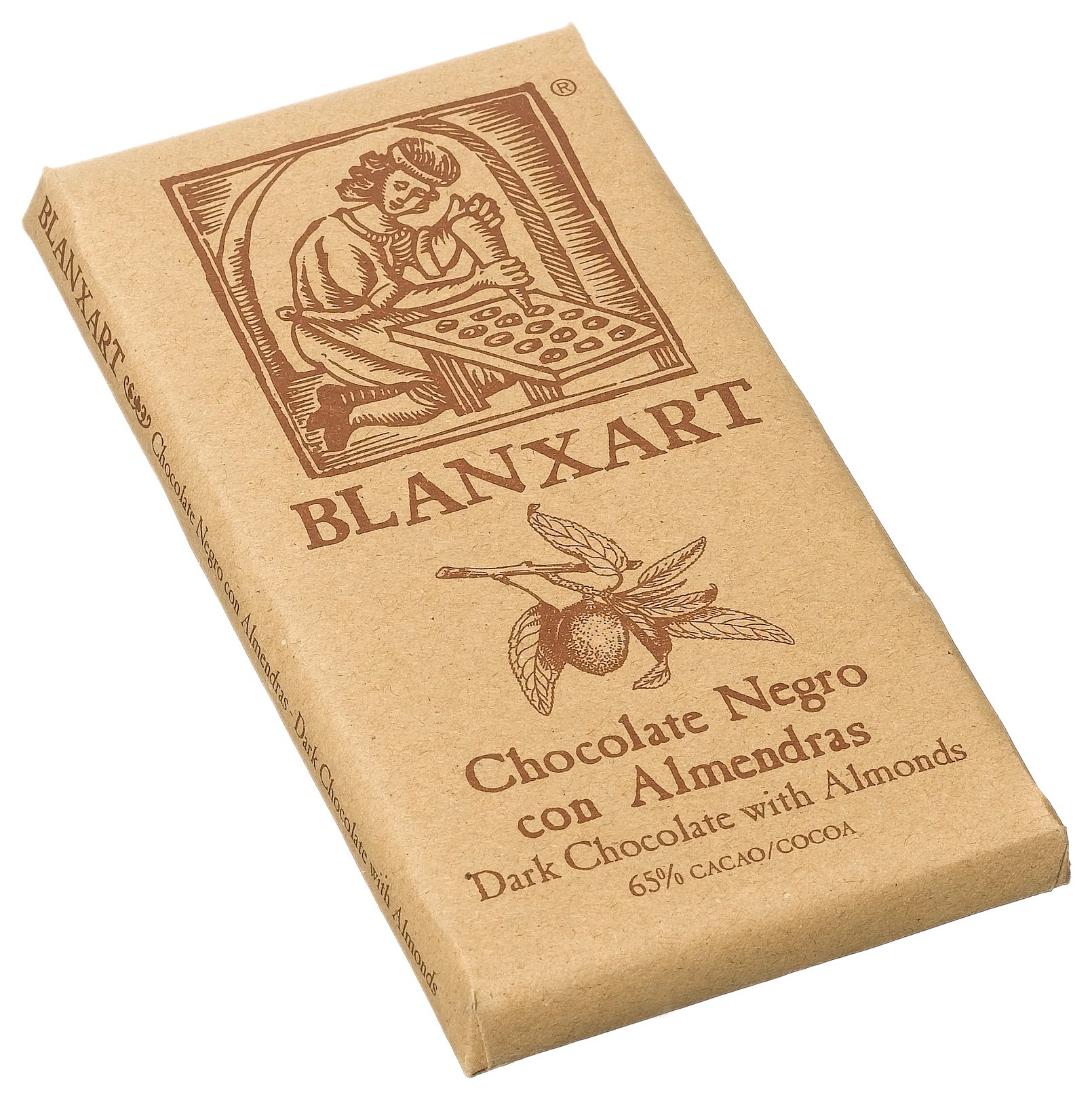 Blanxart Dark Chocolate with Almonds, 7 oz