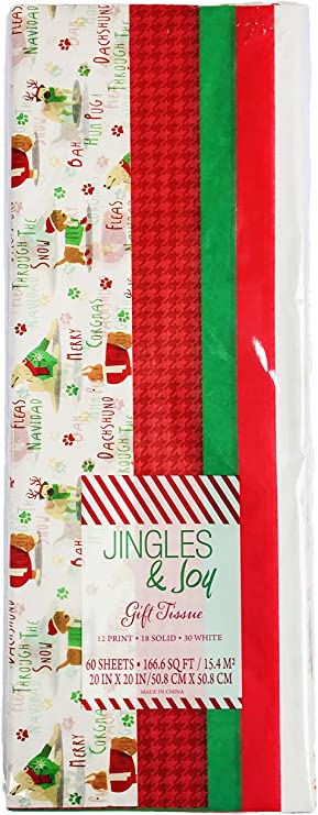 Dachshund Dog Holiday Christmas Gift Wrap Printed Tissue Paper 20 Sheets NEW