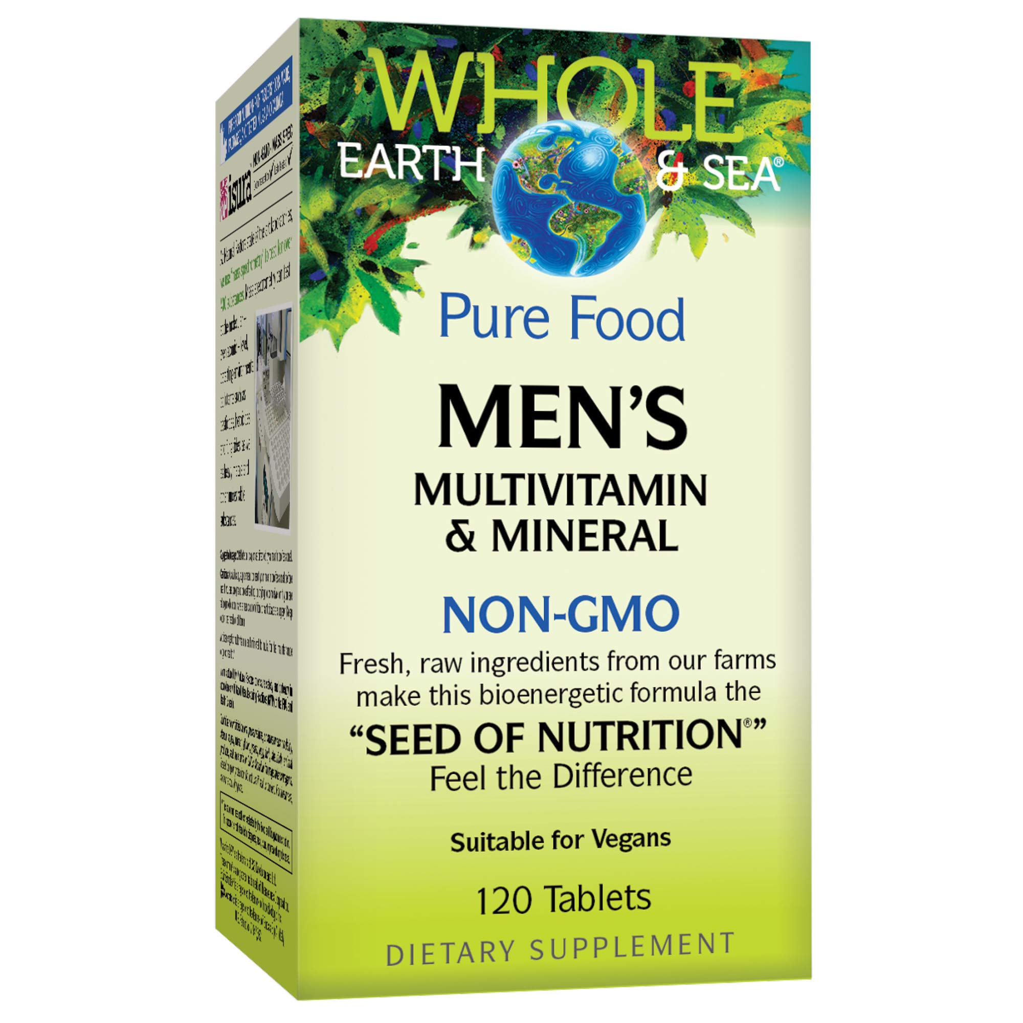 Whole Earth & Sea from Natural Factors, Men's Multivitamin & Mineral, Whole Food Supplement, Vegan and Gluten Free, 120 Tablets (60 Servings) by Natural Factors