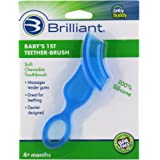 Brilliant Baby's 1st Toothbrush Teether - Premium Silicone First Toothbrush for Babies and Toddlers - Kids Love Them, Blue, 1