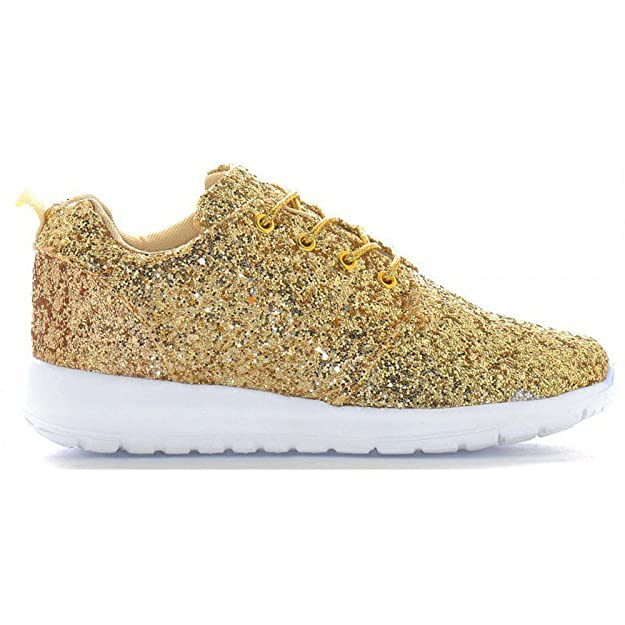 ac1cb8f4059 Womens Ladies Lace Up Glitter Sparkly Trainers Sneakers Gym Pumps Fitness  Size  Amazon.co.uk  Shoes   Bags