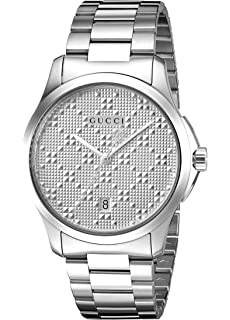 Gucci Swiss Quartz Stainless Steel Dress Silver-Toned Mens Watch(Model: YA126459)