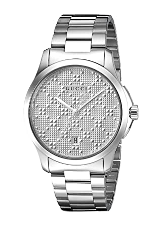 01cf5ac67f9 Amazon.com  Gucci Swiss Quartz Stainless Steel Dress Silver-Toned Men s  Watch(Model  YA126459)  Watches