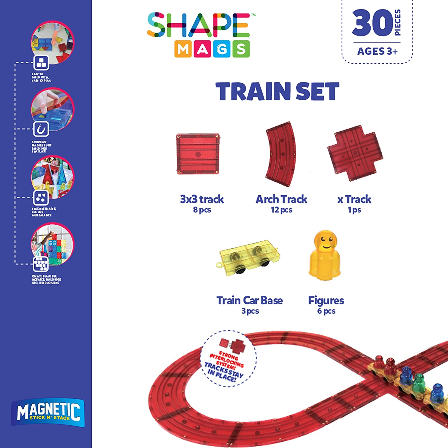 3 Train Bases and 6 Figures Made with Power+Magnets Magnetic Stick N Stack Award Winning 30 Piece Train Set Includes Train Track Tiles