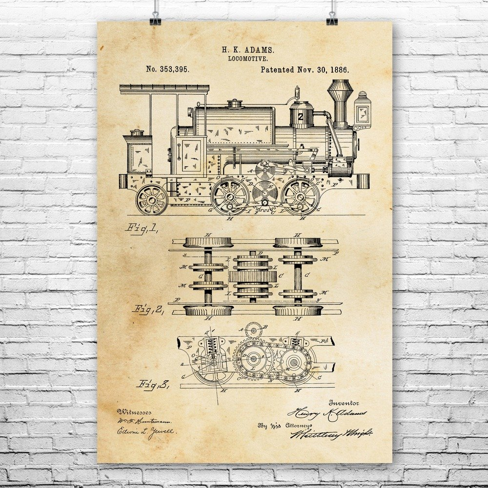 Locomotive Poster Print, Train Conductor, Engineer Gift, Train Blueprint, Railway Worker, Vintage Railroad, Train Lover