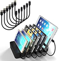 MSTJRY Charging Station 6 Port 5V 50W Multi Charging Dock for Multiple Devices Individual Switch Control Multi Port Charger Station with Short Cables (Black) …