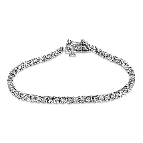 dea7d9446a405 Amazon.com: Diamond Jewel 10K Gold 1 CT TW Diamond Tennis Bracelet ...