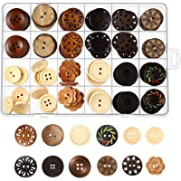 Wooden Assorted Buttons 20mm Sewing Buttons BANO 100 Pieces Cute Large Craft Buttons Buttons for Sewing /¾ inch Flower Buttons for Sewing Buttons for Crafts