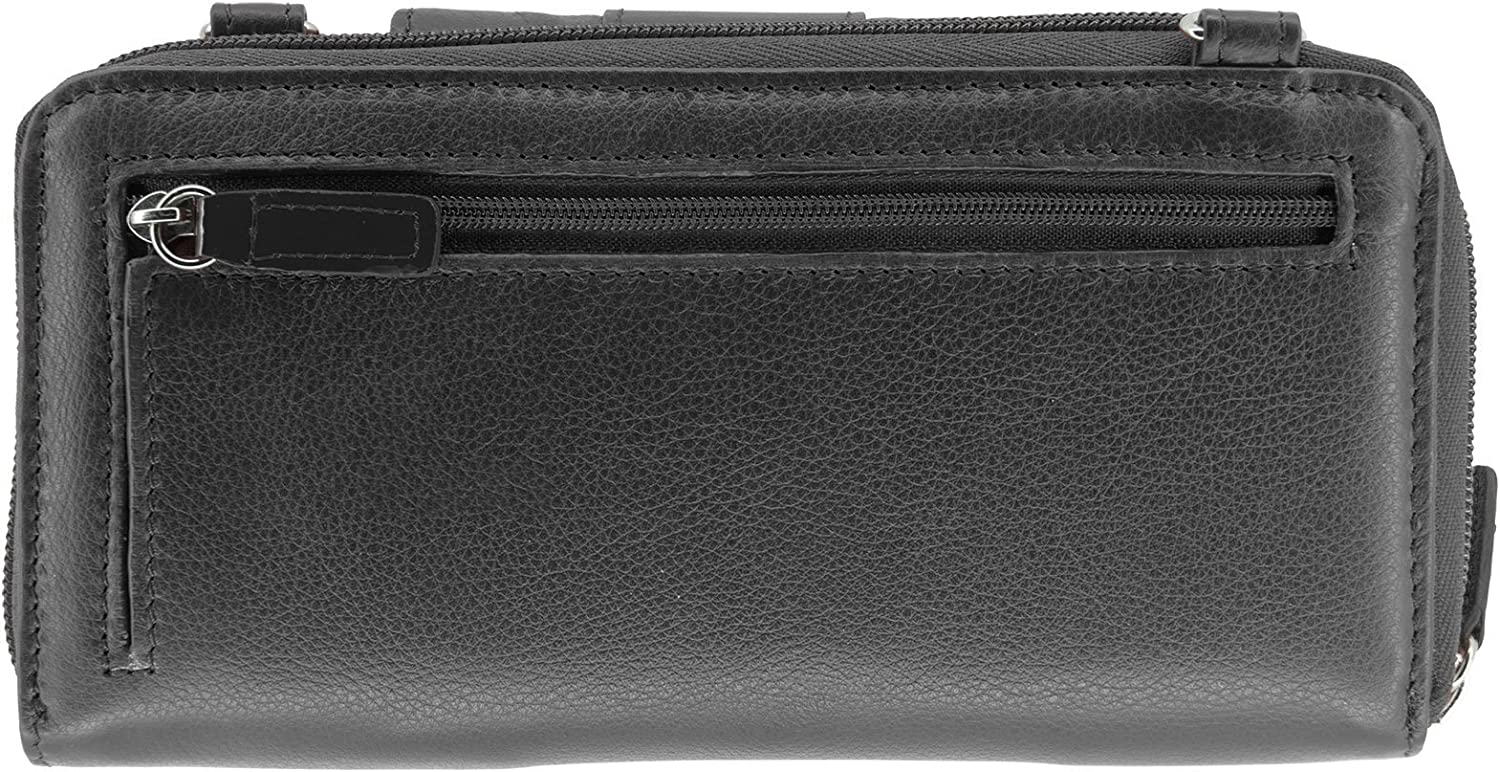 WalletBe Womens Leather Crossbody RFID Cell Phone Wallet Purse with Accordion Pebbled
