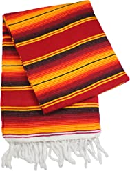 Oro Import Red Color Sarape Serape Mexican Blanket Saltillo Southwestern Afghan 5 x 7 ft