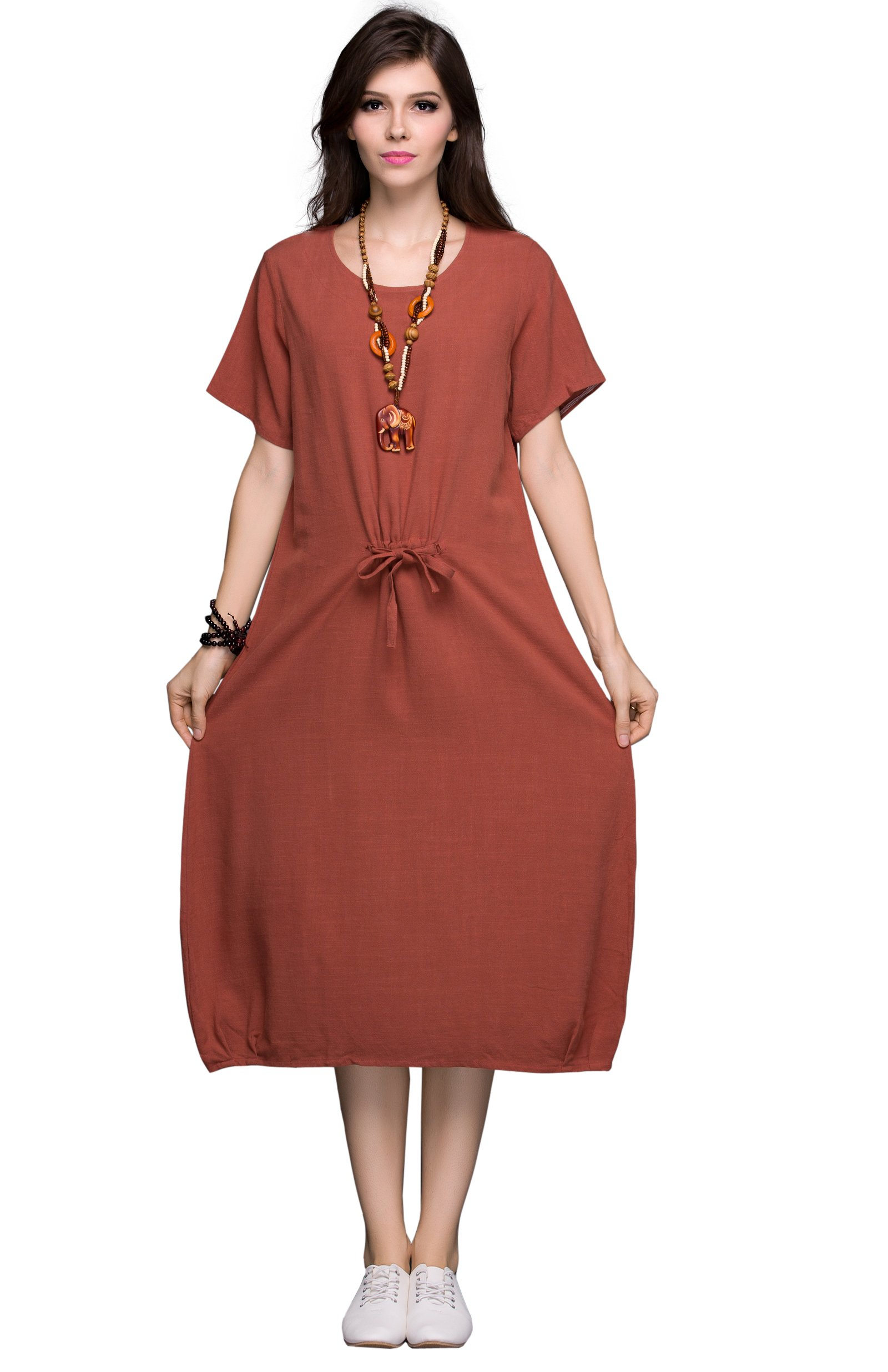 Anysize Summer Series Soft Linen&Cotton Loose Dress Plus Size Dress Spring Summer Dress Y71
