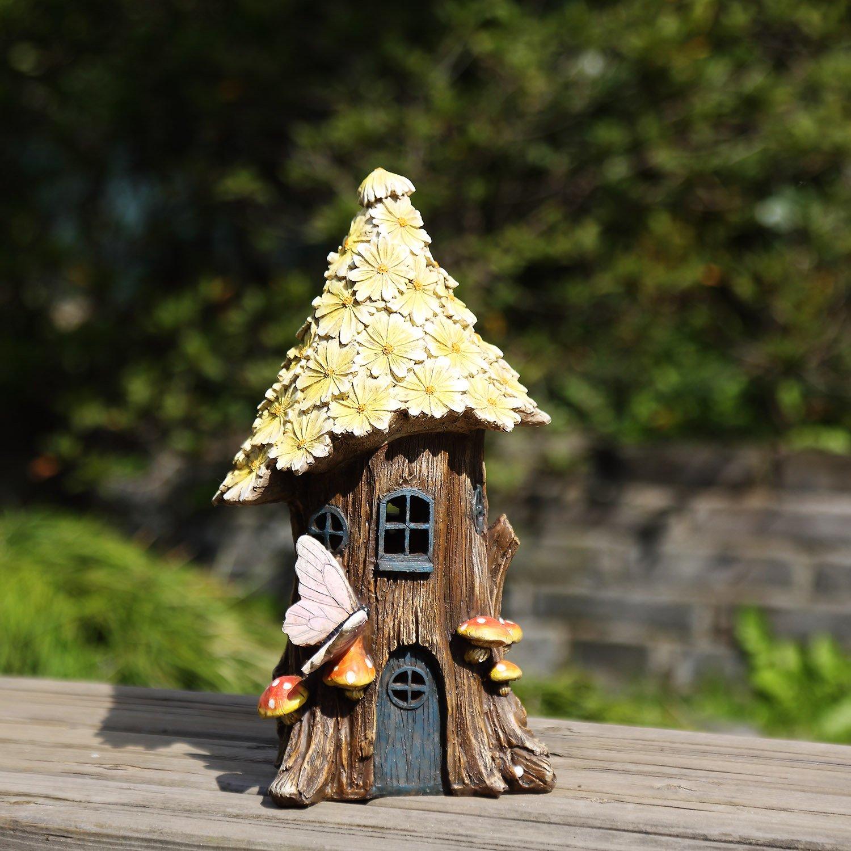 Ivy Home Miniature Fairy Garden Flower Solar Powered Garden Statue House,Wild Chrysanthemum