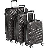 AmazonBasics 3 Piece Geometric Hard Shell Expandable Luggage Spinner Suitcase Set - Black