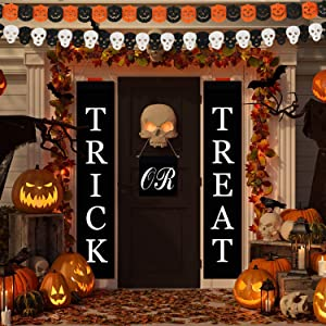 Halloween Decorations Outdoor Banner Trick or Treat Porch Sign Front Door Decor Set of 3 Hanging Welcome Signs with Hooks for Home,Garden,Garage,Indoor,Yard,Indoor