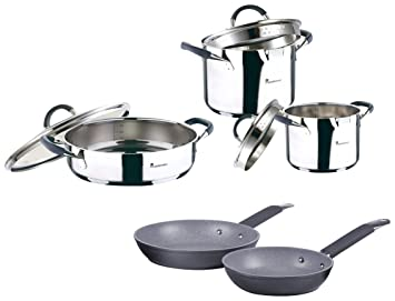Set Batería de cocina SIP 5 piezas (cazo + dos ollas con tapa de vidrio