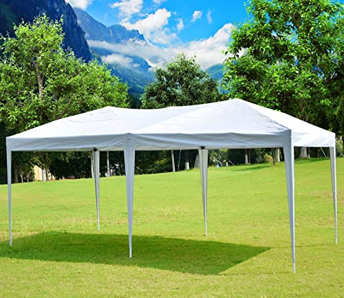 Easyzon 10 x 20FT Pop Up Patio EZ Canopy Tent Heavy Duty Gazebo Pavilion Outdoor Party Commercial Instant Tents Impact Canopies Without Sidewalls, White 1020ft White