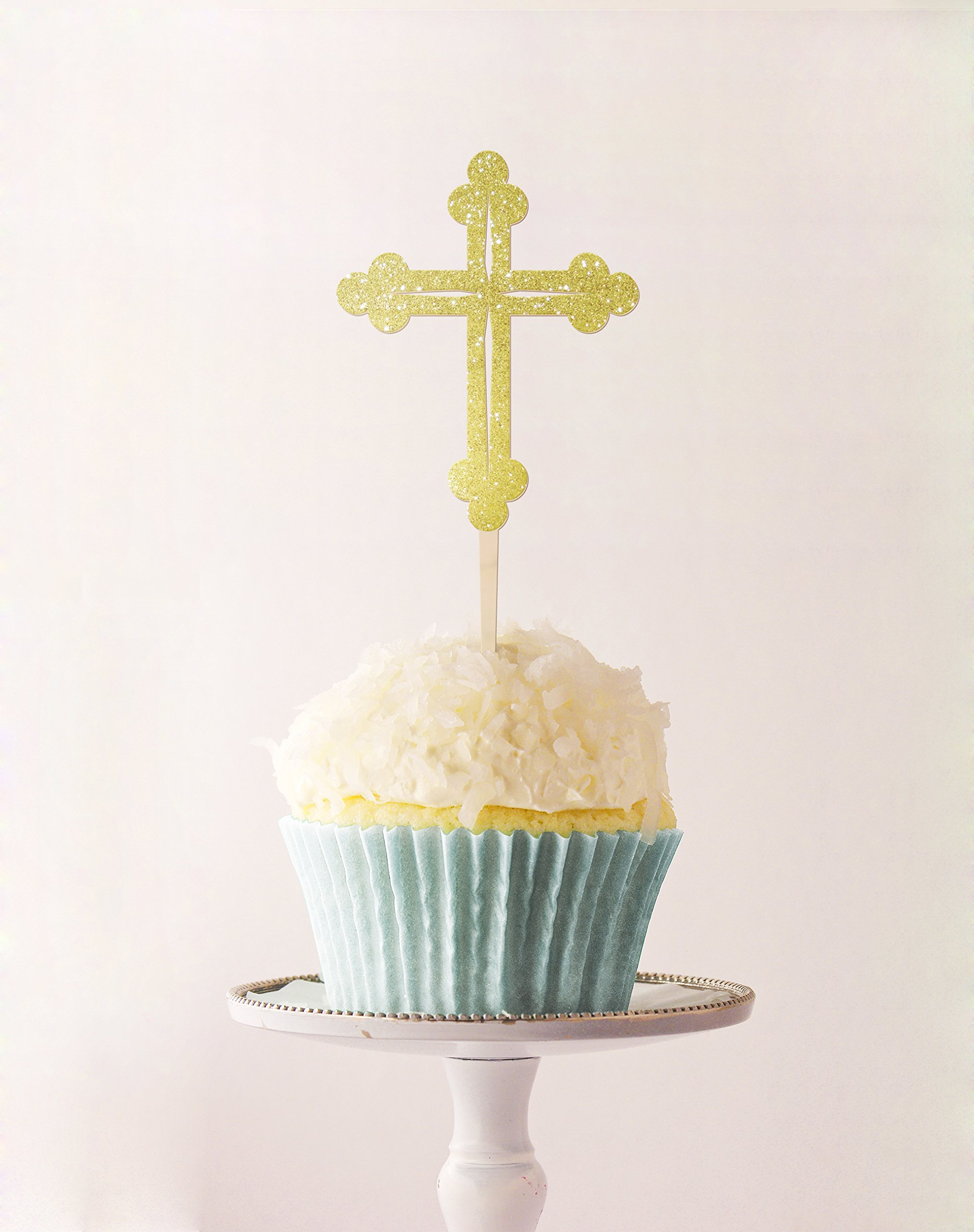 Cup Cake Topper Cross Baptism,Communion 2.3 X 5.2 Inches Laser Cut MDF and Glitter Foamy Gold Set 3 Pc