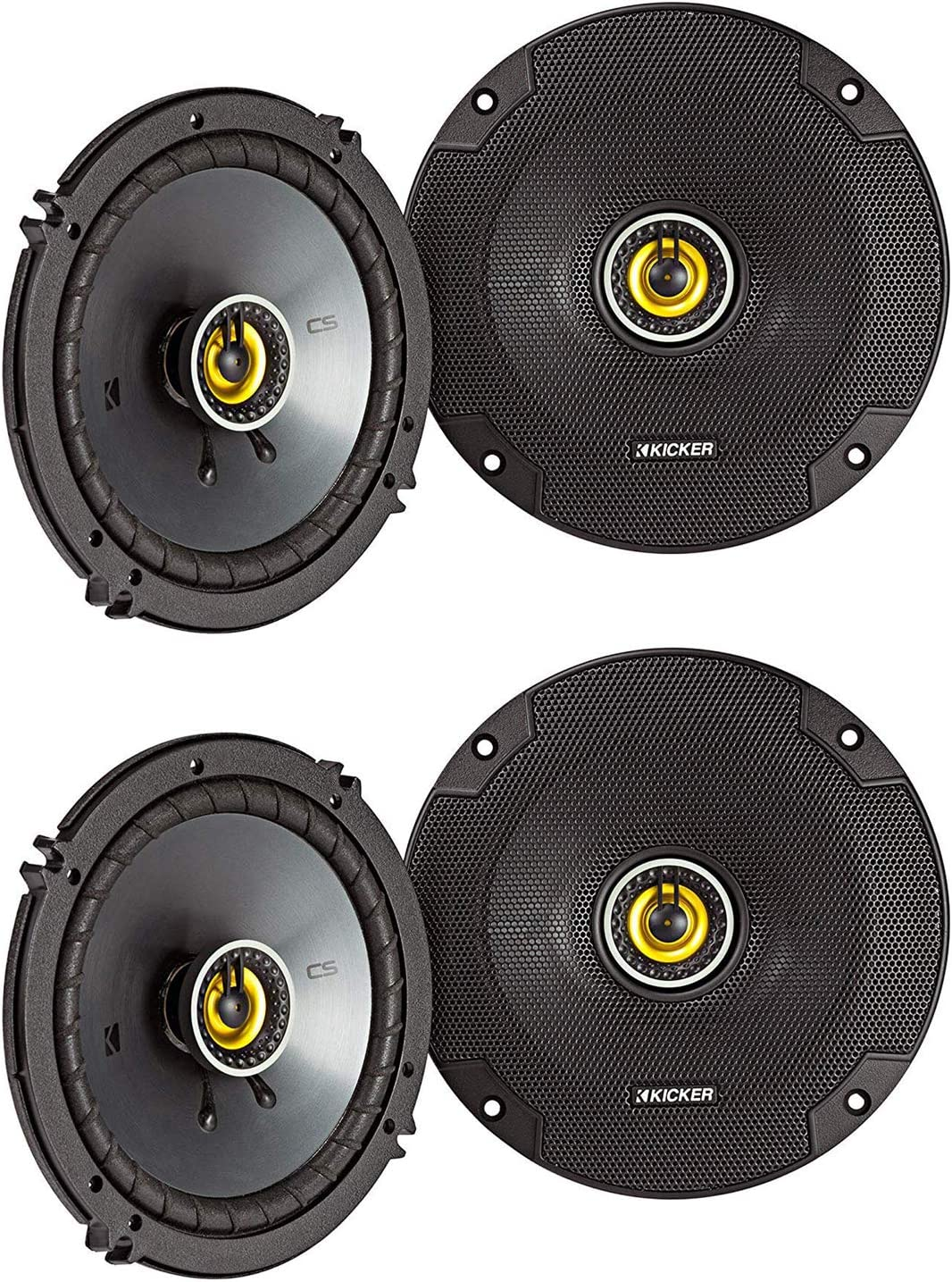 KICKER CS Series CSC65 6.5 Inch Car Audio Speaker with Woofers, Black & Yellow (4 Pack)