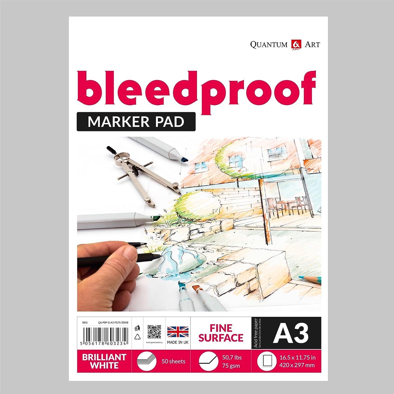 Drawing Bleedproof Fine Surface Pad Artist Paper GUMMED Book - 75gsm (A4-297x210 mm) Quantum Art