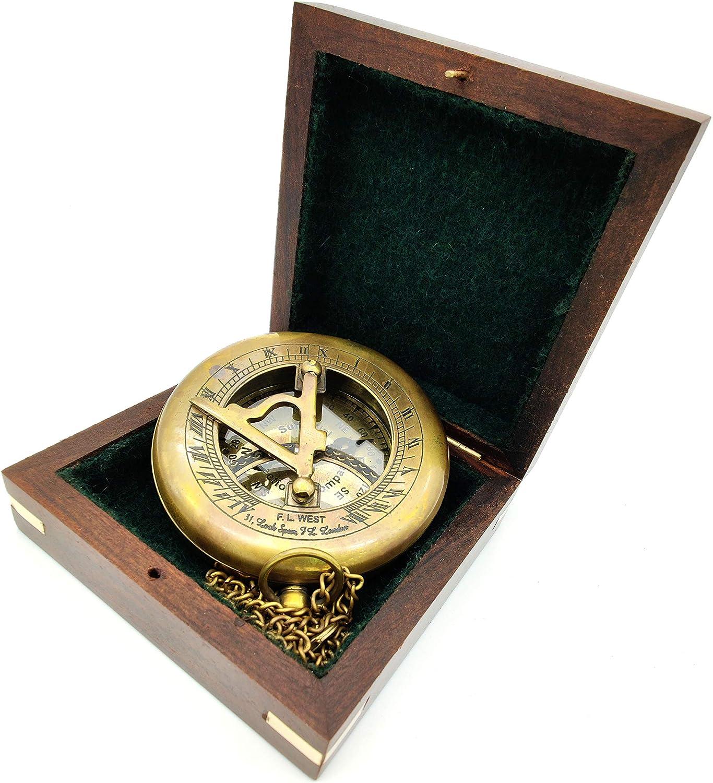 KRAFTBAZAR Sundial Compass, Antique Steampunk Brass Sundial Compass, Sundial Watch with Wooden Box