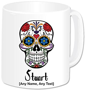 Personalised Gift - Gothic Decrative Skull And Roses Mug (Any Name Any  Message)  Goth Gothic Celtic Rock Skull Roses Tankard Fantasy Decrative