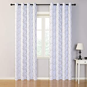 MYSKY HOME Brown Branch Pattern Room Darkening Curtains 95 Inch Length for Living Room Grommet Window Curtain 2 Panels